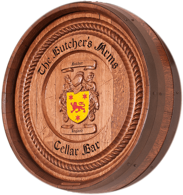 Coat of Arms Family Crest Tenth Barrel Carving