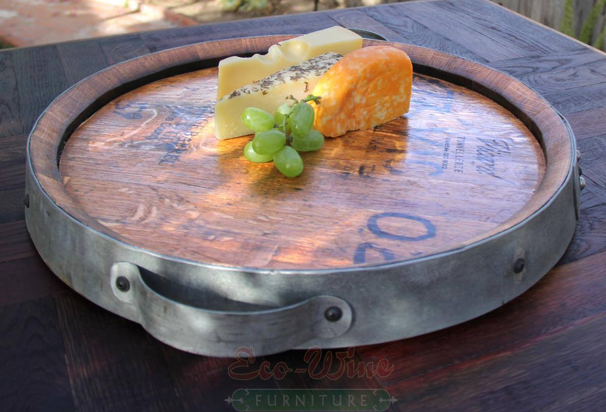Wine Barrel Lazy Susan Serving Tray by EcoFurniture