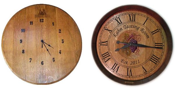 One very simple and one richly carved wine clock