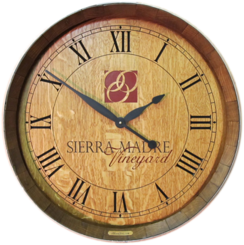 Wine Barrel Clock - Winery Logo