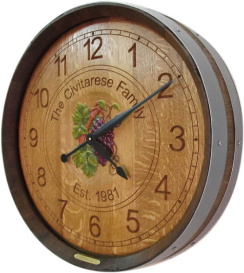 Wine Barrel Clock - Wedding & Anniversary