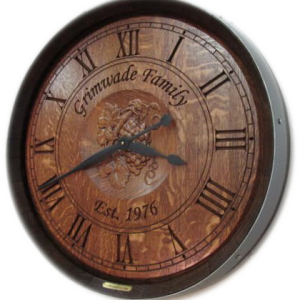 Grimwade Wine Barrel Clock with 3D Grapes
