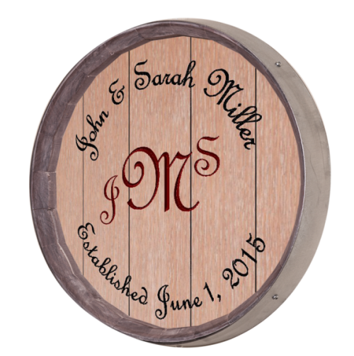 Initials Barrel Sign - 3 Initials