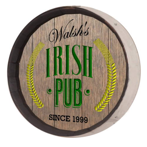 Bar Barrel Sign - Irish Pub