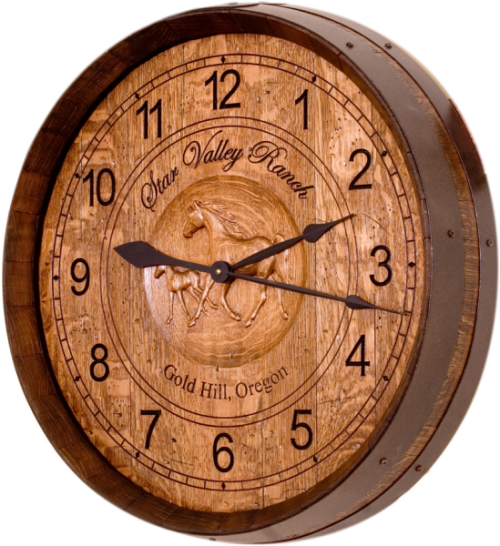 Wine Barrel Clock - Western & Ranch