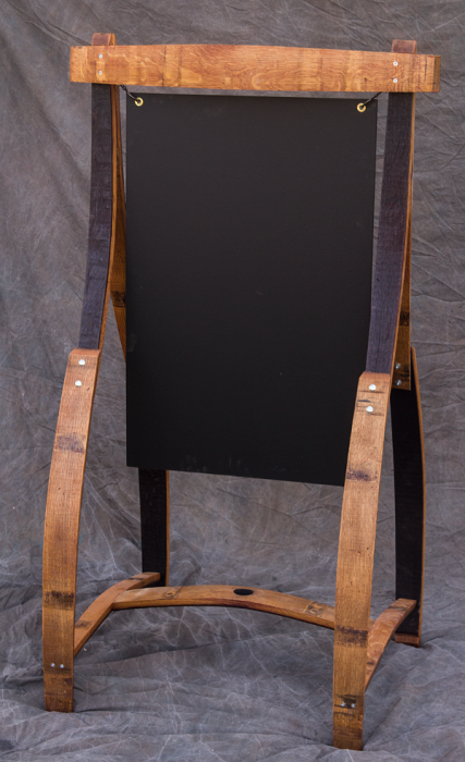 tall barrel stave chalkboard easel