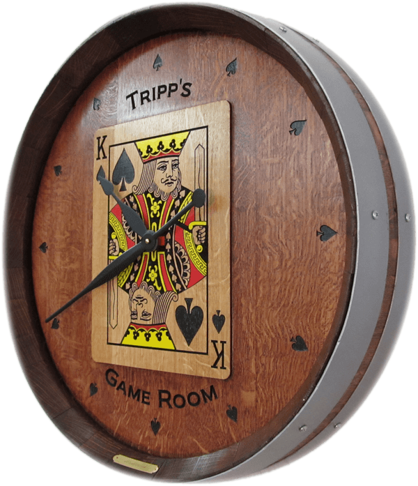 King of Spades Game Room Barrel Clock