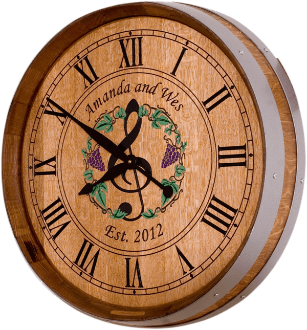 Music and Grapes Themed Wedding Barrel Clock