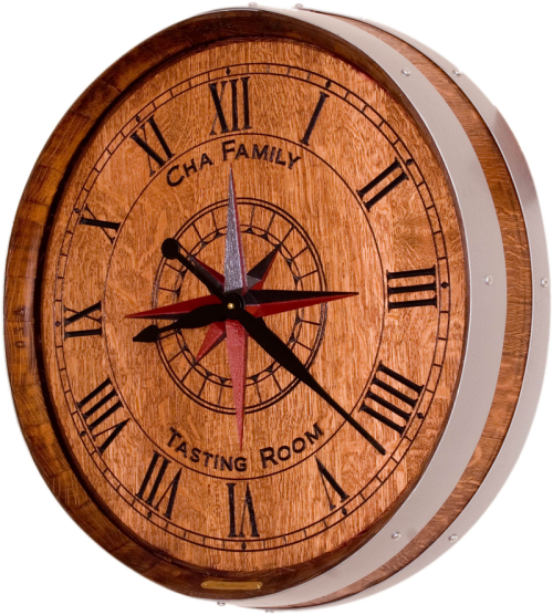 Cha peronalized wine barrel clock