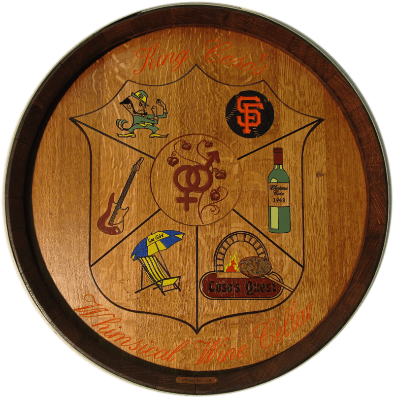 Whimsical Personalized Coat of Arms Barrel Carving