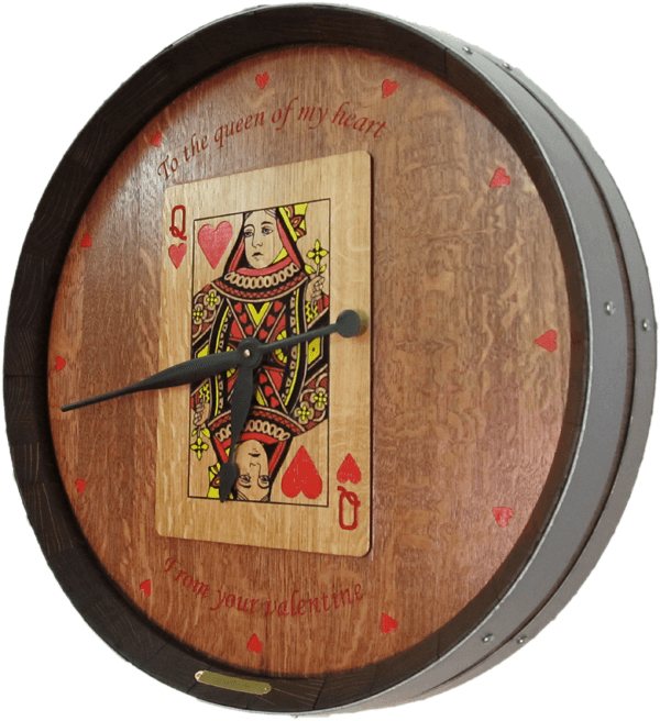 Queen Of Hearts Game Room Barrel Clock