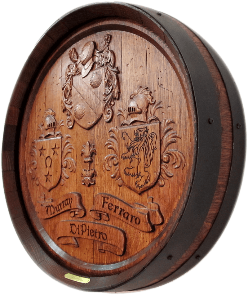 Three Coat of Arms Barrel Carving