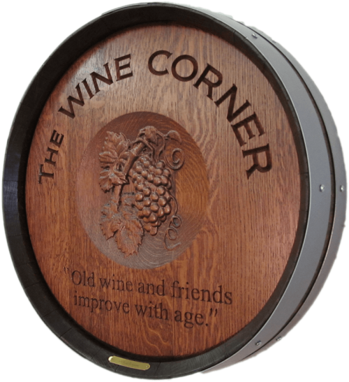 The Wine Corner 3D Grapes Barrel Carving