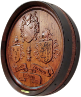 B1-Ferraro-Coat-of-Arms-Barrel-Head-Carving