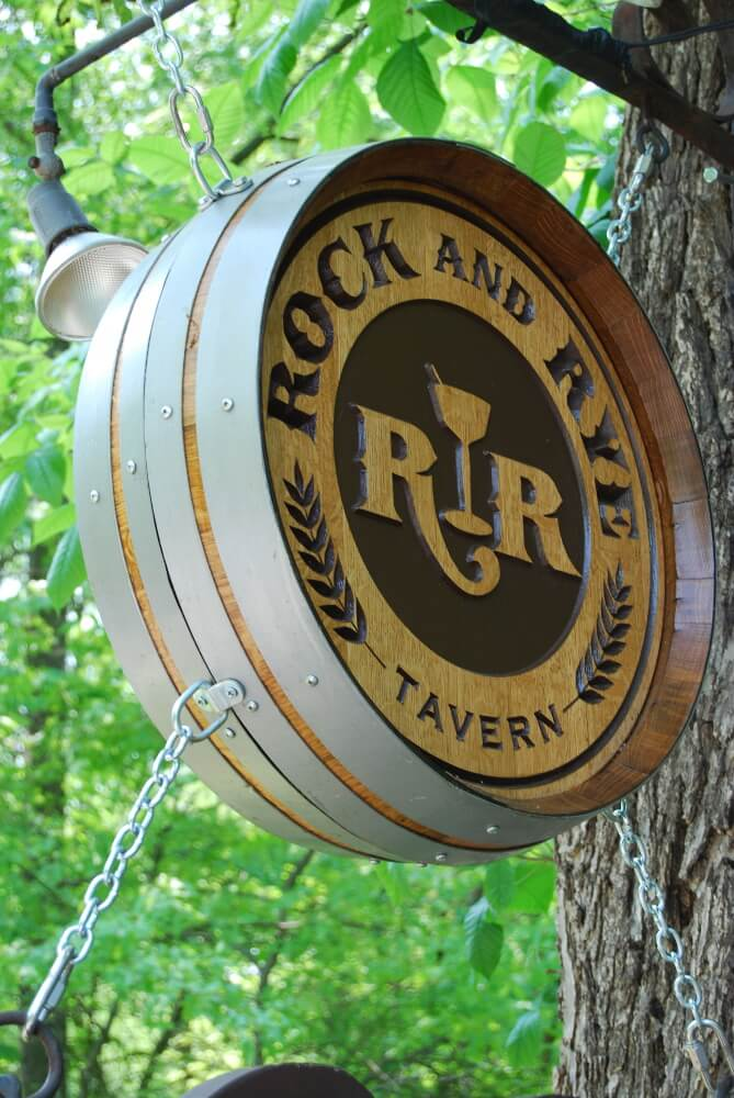 Rock and Rye Double Sided Barrel Sign by eWoodArt