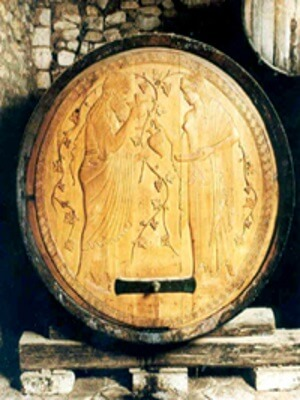 Old world barrel carving from Gustav Clauss winery