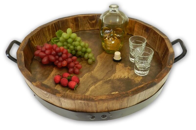 wine barrel serving tray by winevine imports