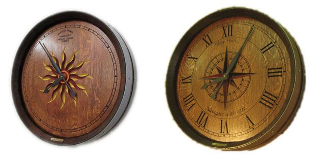 decorative sunburst and compass rose carved wine barrel clocks