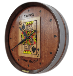 Wine Barrel Clock - Game Room