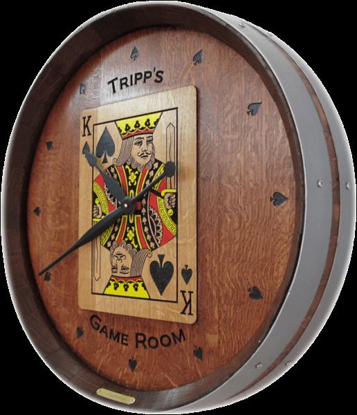 Wine Barrel Clock - Game Room