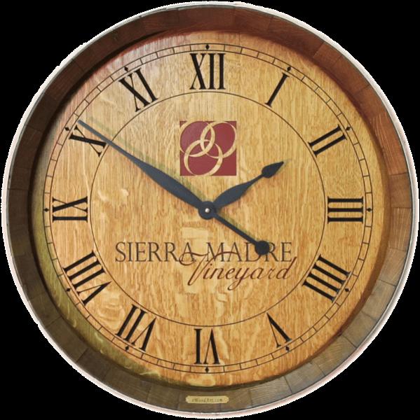Wine Barrel Clock - Winery Logo