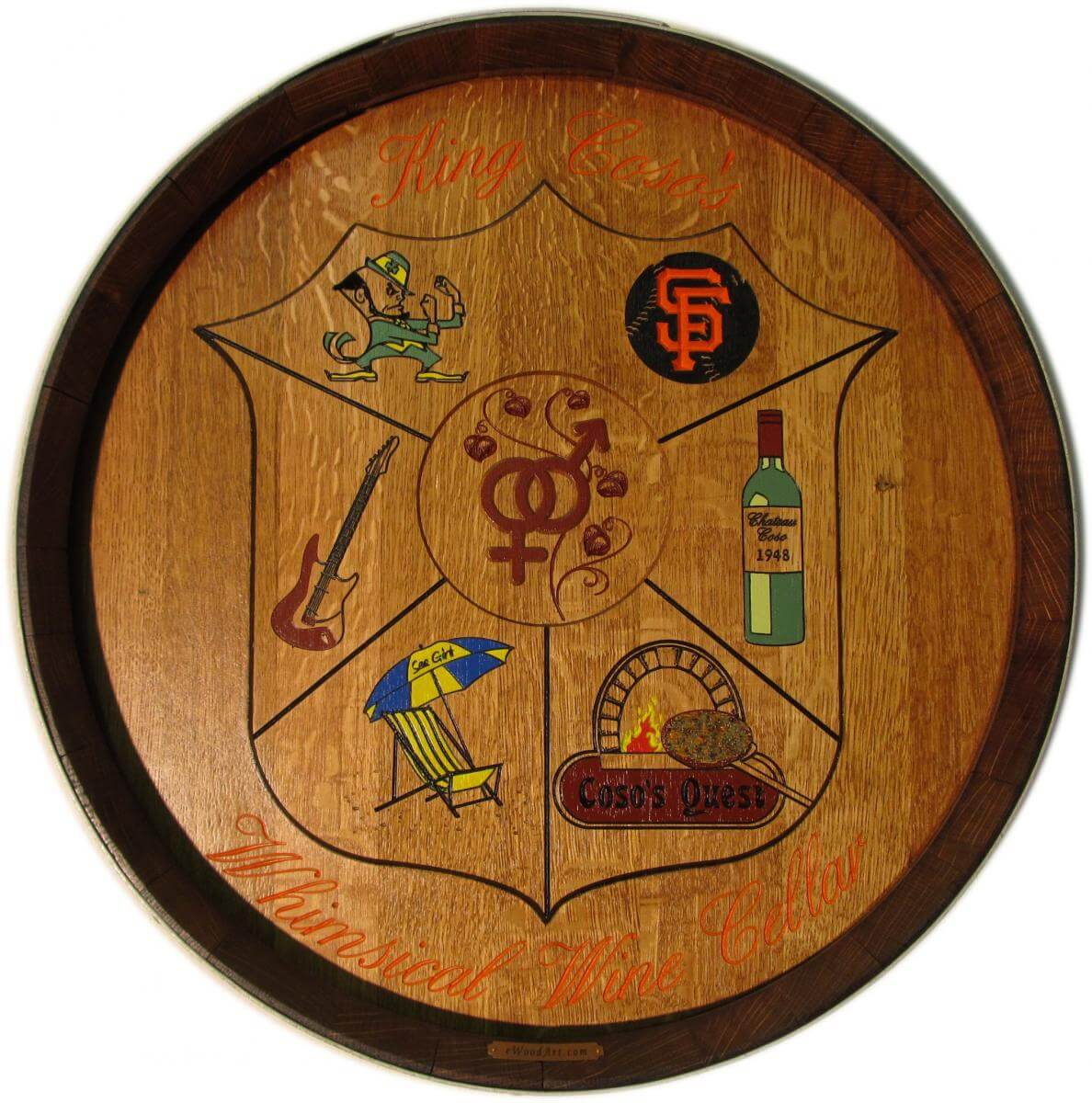 King Coso's Coat Of Arms Barrel Carving