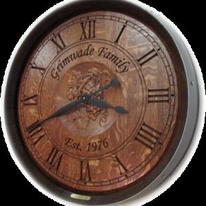 Grimwade Wine Barrel Clock with 3D Grapes