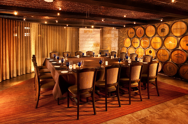Wine barrel carvings in hospitality wine decor for Wine wall art decorating dining room