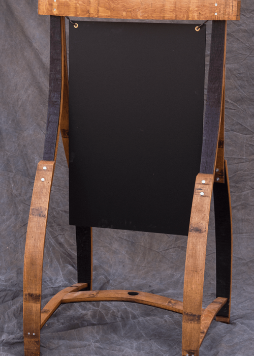tall barrel stave chalkboard easel