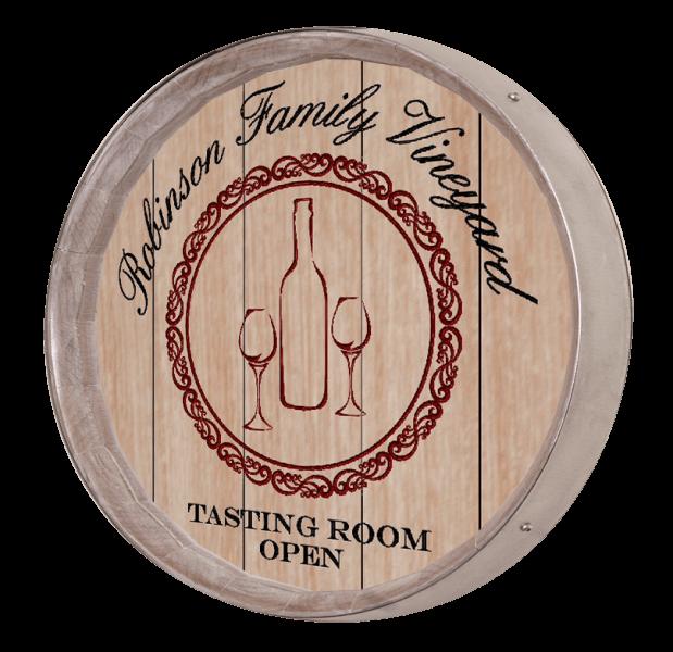 Wine Barrel Sign -Bottle Glasses
