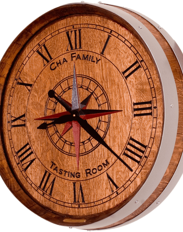 Cha peronalized wine barrel clock