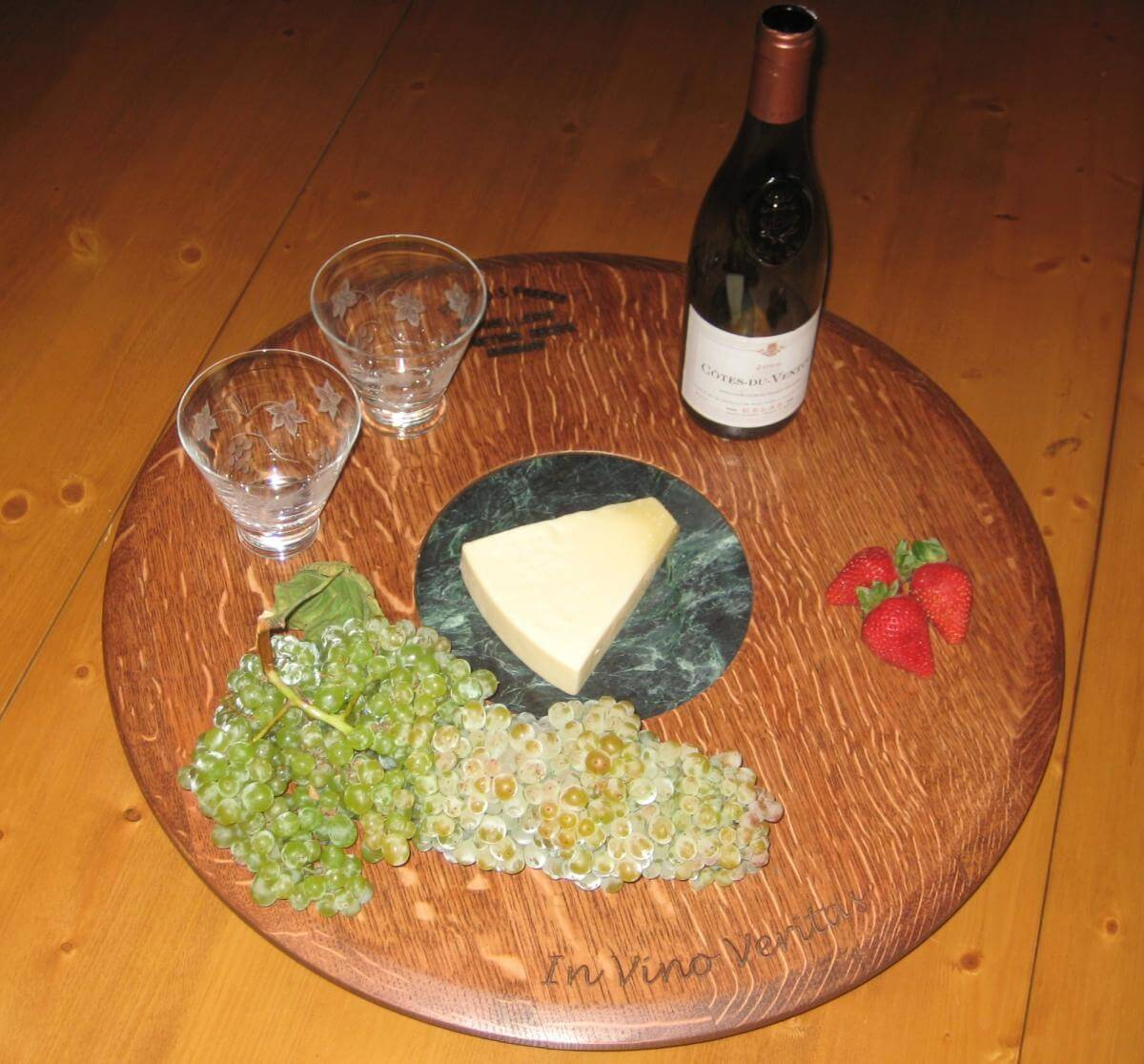 Barrel Head Lazy Susan with Marble Cheese Board