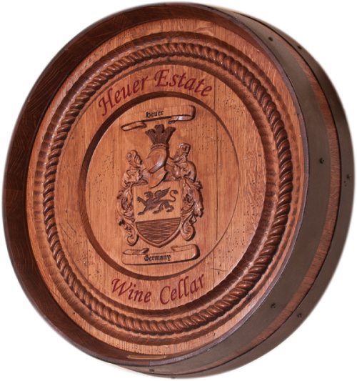 Heuer Coat Of Arms Barrel Carving