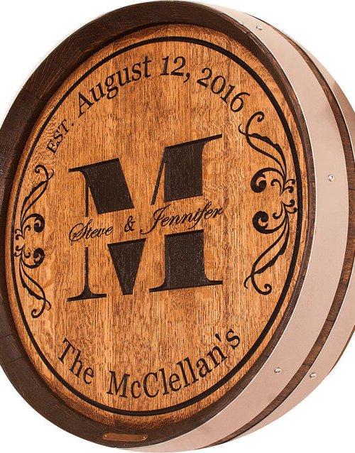 Monogram1 Wedding Barrel Carving
