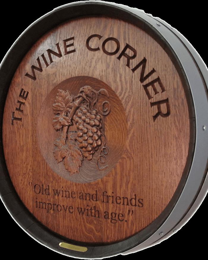The Wine Corner 3D Grapes Barrel Carving