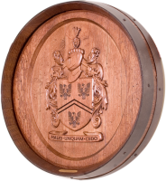 B4-Haud-Unquam-Cedo-Coat-of-Arms-Barrel-Head-Carving